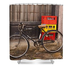 The Old Bicycle Shower Curtain by Rae Tucker