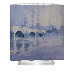 The Old Bridge Of Maastricht In Morning Fog Shower Curtain by Nop Briex