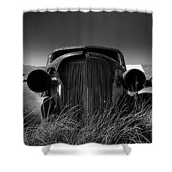 The Old Buick Shower Curtain by Marius Sipa