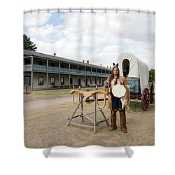 The Old Cavalry Barracks At Fort Laramie National Historic Site Shower Curtain by Carol M Highsmith