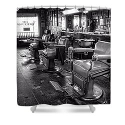 The Old City Barber Shop In Black And White Shower Curtain