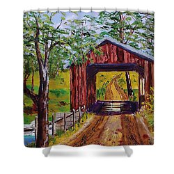 The Old Covered Bridge Shower Curtain