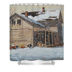 Shower Curtain featuring the painting the Old Farm House by Len Stomski