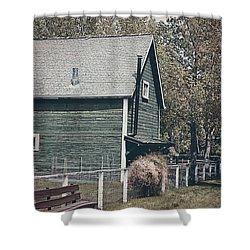 The Old Green Barn Shower Curtain