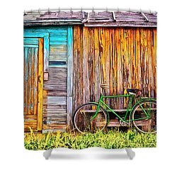 Shower Curtain featuring the painting The Old Green Bicycle by Edward Fielding