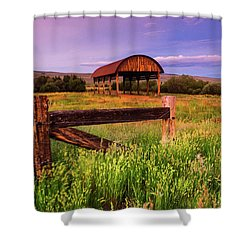 The Old Hay Barn Shower Curtain by John De Bord