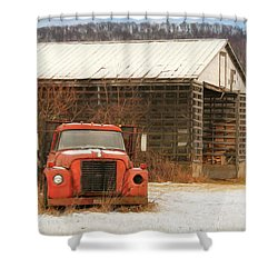 Shower Curtain featuring the photograph The Old Lumber Truck by Lori Deiter