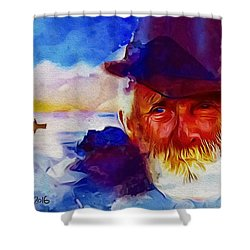 Shower Curtain featuring the painting The Old Man And The Sea by Ted Azriel