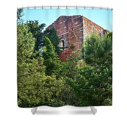 The Old Monastery Of Escornalbou Surrounded By Trees In Spain Shower Curtain