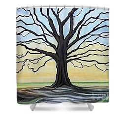 The Stained Old Oak Tree Shower Curtain by Elizabeth Robinette Tyndall