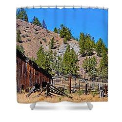 The Old Pine Creek Ranch Barn And Coral Shower Curtain