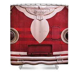 Shower Curtain featuring the photograph The Old Red Bus by Heidi Hermes