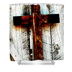 The Old Rusted Cross Shower Curtain