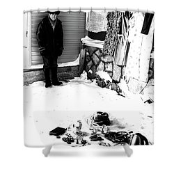 Shower Curtain featuring the photograph The Old Seller by John Williams