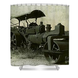 The Old Steam Roller Shower Curtain by Christo Christov