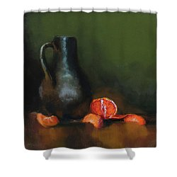 Shower Curtain featuring the painting The Old Stoneware Mug by Barry Williamson