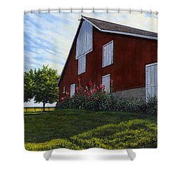The Old Stucco Barn Shower Curtain
