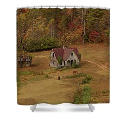 Shower Curtain featuring the digital art The Oldest House In North Carolina by Sharon Batdorf