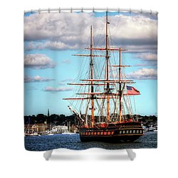 Shower Curtain featuring the photograph Tall Ship The Oliver Hazard Perry by Tom Prendergast