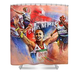 The Olympics Night Of Gold Shower Curtain by Miki De Goodaboom