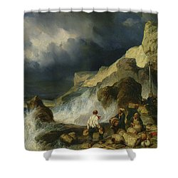 The Onslaught Of The Smugglers Shower Curtain by Louis Eugene Gabriel Isabey