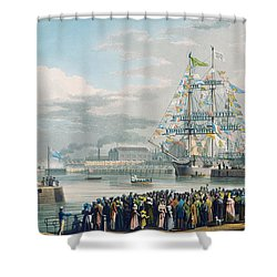 The Opening Of Saint Katharine Docks Shower Curtain by Edward Duncan