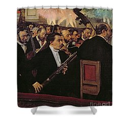 The Opera Orchestra Shower Curtain by Edgar Degas