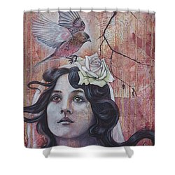 Shower Curtain featuring the mixed media The Oracle by Sheri Howe