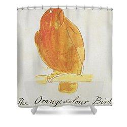 The Orange Color Bird Shower Curtain