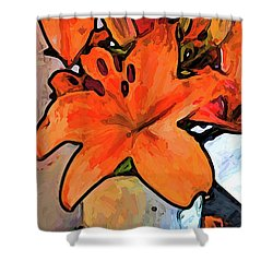 The Orange Lilies In The Mother Of Pearl Vase Shower Curtain