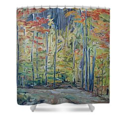 The Orange Maple Trees Shower Curtain by Francois Fournier