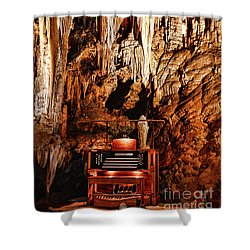 The Organ In The Cavern Shower Curtain by Paul Ward