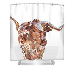 The Original Longhorn Standing Earth Quack Watercolor Painting By Kmcelwaine Shower Curtain by Kathleen McElwaine