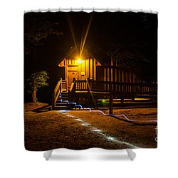 The Out House Mystery Shower Curtain by Donna Brown