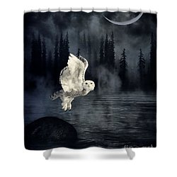 The Owl And Her Mystical Moon Shower Curtain by Heather King