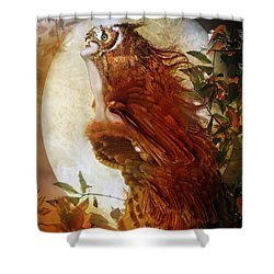The Owl Shower Curtain by Mary Hood