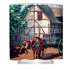The Ox Cart Shower Curtain by Hanne Lore Koehler