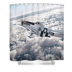 The P-51 Mustang Shower Curtain by David Collins