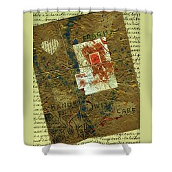 Shower Curtain featuring the mixed media The Package by P J Lewis