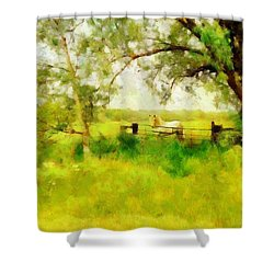 Shower Curtain featuring the painting The Paddock by Valerie Anne Kelly