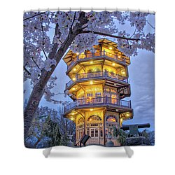 Shower Curtain featuring the photograph The Pagoda In Spring At Blue Hour by Mark Dodd