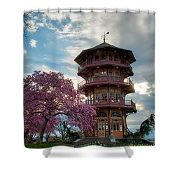 The Pagoda In Spring Shower Curtain by Mark Dodd