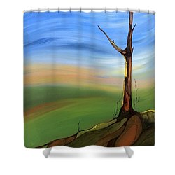Shower Curtain featuring the painting The Painted Sky by Pat Purdy