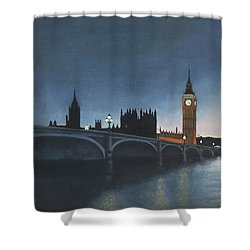 The Palace Of Westminster London Oil On Canvas Shower Curtain