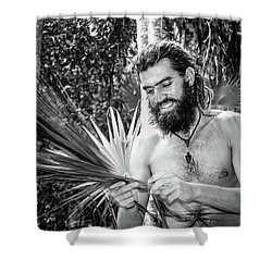 The Palm Frond Weaver Shower Curtain by Marius Sipa