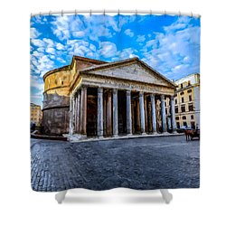 Shower Curtain featuring the painting The Pantheon Rome by David Dehner
