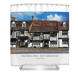 Shower Curtain featuring the digital art The Paper Boy - East Grinstead by Julian Perry