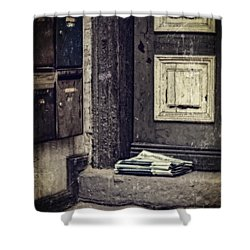 The Paper Boy Was There. Shower Curtain