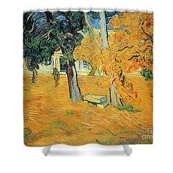 The Park At Saint Pauls Hospital Saint Remy Shower Curtain by Vincent van Gogh