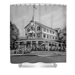 The Parker House Black And White Shower Curtain